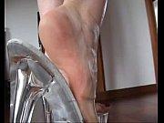 slutty blond #039_s shoejob with her transparent platform heels