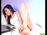 Sexy brunette fucks dildo on live cam Thumbnail