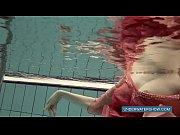 katya okuneva in red dress pool.