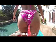 thumb lubed brunette uma jolie big dick outdoor pool fuck