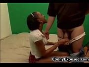 Perky ebony teen sucks white cock