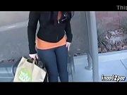 sexy caroline pierce bursting to pee at bus stop