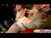 Horny tattooed bitch enjoy gang bang full of big penises