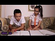 Asian boy sucks off ladyboy study partner schoolgirl