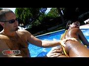 black brazilian teen fucked hard by the pool.