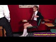 thumb british schoolgirl tugging dick before facial