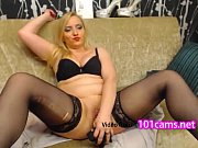 mature freechat Sociable blonde in black stockings blatantly shoved dildo