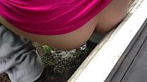 wife takes a quick roadside pee