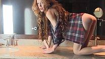 Skinny White Woman Redhead Masturbating With Dildo on Webcam