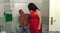 Busty mother inlaw helps him cum pornhub video