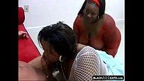 two black bbw whores fucked by a white guy - bathroom fuck thumbnail