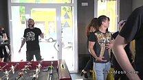 Public petite Euro slave disgraced in downtown pornhub video