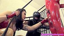 BDSM latex dom punishing subs with gayblowjob thumb