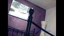 girl fucks herself with a stairway post on webcam thumbnail