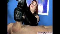 Kinky babe with gloves jerks off bloke pornhub video