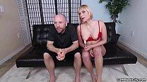 cumblast-Blonde chick gets splattered with cum