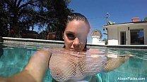Alison Tyler swims and masturbates in the pool