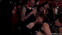 Hot babes sucking huge dicks at orgy
