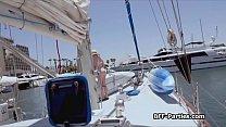 Captain bangs bikini teens on the sea Preview