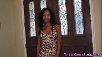 Ebony teen sucks for jizz video
