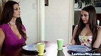 Busty stepmom muffdives teen stepdaughter