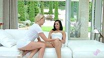 Sensual lesbian love by Amber Deen and Jenny Sa...