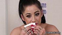 Frisky sex kitten gets jizz shot on her face gulping all the juice