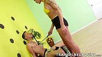 Shemale Danni Daniels Drills Hot Dustin In A Bee Costume