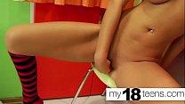 MY18TEENS -  Teen Big Tits Fingering Wet Pussy in the kitchen صورة