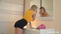 Russian teen Eva Elfie plays with her tiny pussy