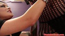 Lezdom Katrina Jade flogs sub Eva Angelina image