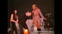 2 femdom in leather pants and boots ballbusting a man Vorschaubild
