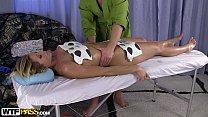 Pretty blonde babe crammed during hot oily massage