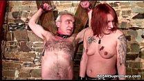 Extreme bondage action where tattooed