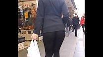 Blonde girl booty in spandex