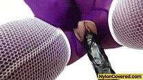 Riding a dildo in pantyhose