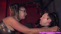 Femdom Humiliates Sub By Having Man Blow Him