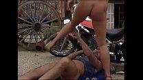 Sexy blonde MILF sucks biker's dick then rides it outdoor preview image