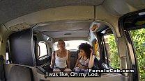 Lesbian female fake taxi driver has oral