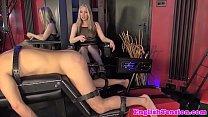 Rough femdom punishes sub with dildo machine