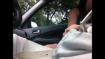 Cute brunette touch dick in car - part 2