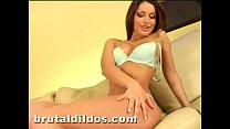 Amazing brunette Marketa Brymova cumming on huge dildo