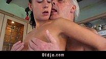 Fetishist brunette licking wrinkled old man صورة