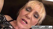 Blonde mature takes a facial after an interraci...
