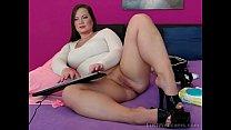 Chubby brunette teasing on webcam