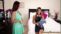 Busty stepmom seduces her new stepdaughter