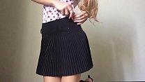 Schoolgirl teen dildo ride on the floor
