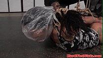 Suspended ebony slut punished with breathplay video