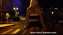 Blonde slut walking no panties in the street />                             <span class=