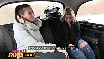 Female Fake Taxi Skinny sexy Czech lesbians with great tits have strap on fun in taxi